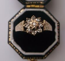 Women's Quality Vintage Diamond 9ct Gold Cluster Ring Size M 1/2  Weight 1.9g