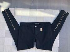NWT Thomas Wylde Black Jean Zipper Skinny Slim Pants Size: 6 M