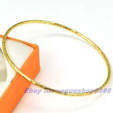 "8""2mm6g REAL POSH 18K YELLOW GOLD GP BANGLE EMPAISTIC SOLID FILL BRACELET 1011z"