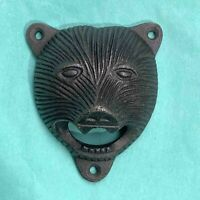 Bear Head  Bottle Opener Wall Mounted Antique Cast Iron Gift Vintage