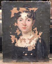 Tableau Ancien Huile Portrait Femme Proche Boilly Vers 1800 XIXe À Restaurer