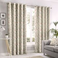 """Fusion """"Aura"""" Ditsy Floral 100% Cotton Fully Lined Eyelet Curtains Natural"""