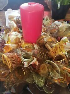 8 inch fall mesh candle centerpiece