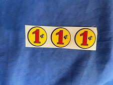 Gumball machine one cent decal, 1 cent sticker