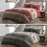Luxury Fair Isle Stag Flannelette Brushed Cotton Duvet Cover Set Bedding Sets LW
