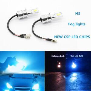 H3 CSP LED Fog Light Bulbs Conversion Kit 55W 8000LM 8000K BLUE Super Bright