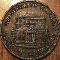 1844 LOWER CANADA BANK OF MONTREAL HALFPENNY TOKEN
