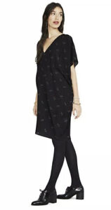"""Hatch Maternity Women's THE SLOUCH DRESS Black Woodland Floral Size S/P 35"""" NEW"""