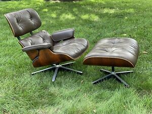 Herman Miller Eames Lounge Chair & Ottoman Rosewood Wood & Brown Leather
