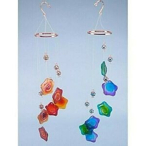 VIBRANT LARGE GLASS FLOWER MOBILE & CHIME, GARDEN, SHED OR ANYWHERE 60cm