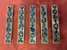 Ackerman Door Handles or Door Pulls Bronze with Inlaid Stone set of 5
