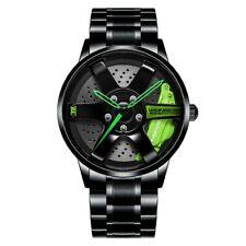 NIBOSI Wheel Rim Hub Watch Waterproof Green Sports Car Rim Design Wristwatch