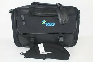 LL BEAN Nylon Leather Laptop Messenger Bag Briefcase Travel Bag Black Expandable