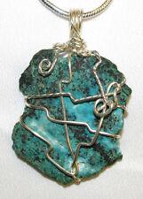 Arizona Chrysycolla wire wrap sp snake chain necklace natural stone pendant #304