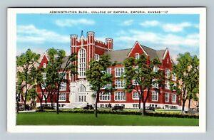 Emporia KS, Admin Building at College of Emporia, Vintage Kansas Postcard