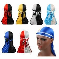 US Unisex Silky Durag Bandanna Turban Hat Mens Wigs Rag Biker Headwear Headband