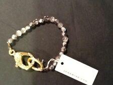 John Wind Beaded bracelet w/ diamond studded gold clasp, NWT