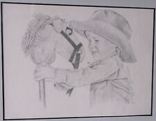 Western Young Cowboy w/Stick Horse-Signed/Matted/Frame-Art from Montana-10.5 X 9