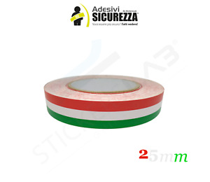 Adesivi striscia TRICOLORE Fascia bandiera Italiana 2,5cm x 3 Metri