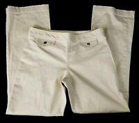 Gap Khakis Womens Pants Sz 4 Beige Stretch Side Zip Mid Rise Straight Leg Career