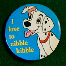 "Vtg 101 Dalmations (1961) ""I Love to Nibble Kibble"" Pinback Button Pin Disney"