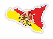 Adesivo SILHOUETTE SICILIA ITALIA mappa bandiera FRIGO CAMION CASCO TOOL BOX BICI
