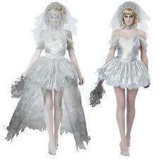 Señoras para mujer vampiro horror Novia Halloween Disfraz Elaborado Fiesta Vestido ladcos 16
