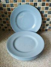6 IRIS BLUE WOODSWARE PLATES 22.5CM DIAMETER SMALL DINNER PLATE CHILD'S WOODS