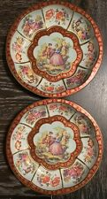 (2) Daher Decorated Ware - Round Tin Bowl Serving Tray - Victorian Scene - 1971