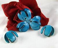Vintage Blue Enamel Flower Pin Brooch  & Earrings Set FERAL  CAT RESCUE