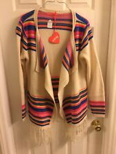 Hippie Boho Chic Aztec Open Sweater Cardigan With Fringe Colorful NWT