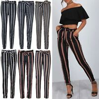 Women Ladies High Waist Stripes Wide Leg Stretchy Pants Belted Paper Bag Trouser