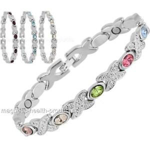 LADIES MAGNETIC HEALING BRACELET SILVER CRYSTALS BANGLE ARTHRITIS PAIN RELIEF