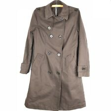 GAP Womens Trench Coat Medium Brown Double Breasted 100% Cotton Unlined o412