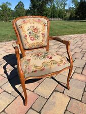 SALE!! Antique 19thC French Country Carved Fauteuil Chair With  Arms Needlepoint