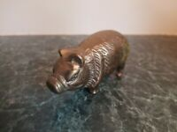 "Vintage Mid Century Modern 3"" Brass Pig Figure Paperweight Nice Detail Taiwan"