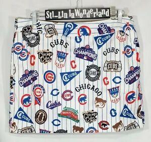 New Loudmouth Golf Chicago Cubs Retro Baseball MLB Women's Skirt Skort Sz 14