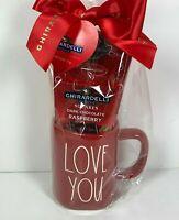 "New HTF RAE DUNN Valentines Day Gift Red LL ""LOVE YOU"" Mug & Chocolate Gift Set"
