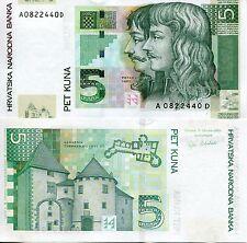 CROATIA 5 Dinara Banknote World Paper Money UNC Currency p37 Fortress Varazdin