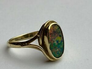 """9ct (375) Yellow Gold Opal """"DOUBLET"""" Stone Ring Size UK """"L 1/2"""" Ship Worldwide"""