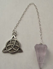 "Pewter Triquetra Charmed Symbol Pendulum w/ Amethyst ""Blessed Be"" on the back"