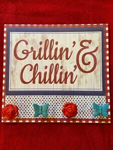 THE PIONEER WOMAN GRILLIN' & CHILLIN' SIGN RED ROSE KNOBS TEAL BUTTERFLY