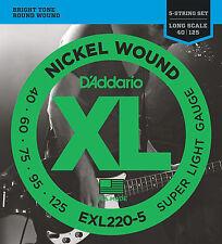 D'Addario EXL220-5 5-String Nickel Wound Bass Guitar Strings, Super Light, 40-12