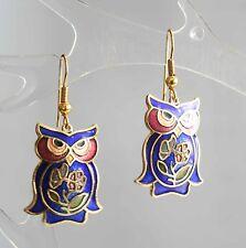 Mid Century Modern Blue Cloisonne Enamel Owl Pierced Earrings 1970s vintage