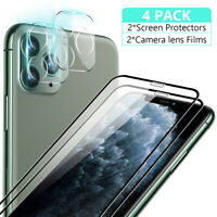 2pcs For iPhone 11 Pro Max Full Tempered Glass Screen Protector+Camera Lens Film