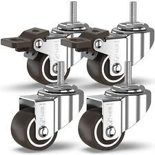4 ruedas de ricino tallo Rosca 25mm/50mm Goma Trolley Ruedas De Muebles Mesa