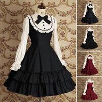Lolita Women Gothic Dress Long Sleeve Ruffle Hem Dress Vintage Medieval Costume
