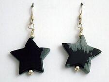 Sterling silver large Snowflake Obsidian Star dangle earrings- Stars,astronomy