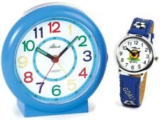 SET Kinderwecker + Armbanduhr Blau Jungen Lernwecker Analog - Atlanta 1917-5 KAU