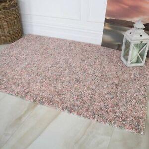 Blush Pink Cream Quality Anti Shed Soft Thick Shaggy Shag Warm Living Room Rug